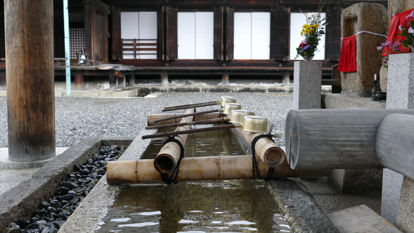 Purifying Fountain At A Japanese Temple   HD Stock Video Clip