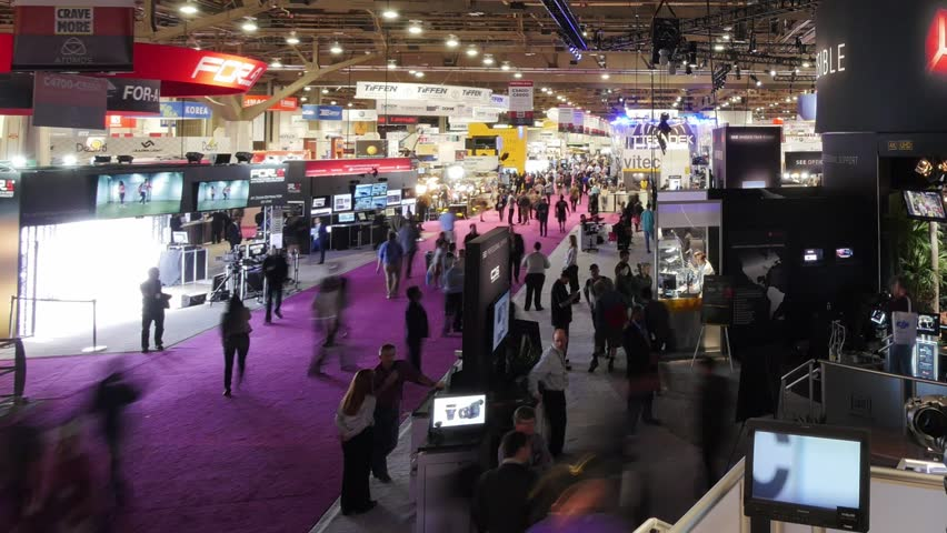LAS VEGAS, NV - April 15: NAB Show 2015 exhibition in Las Vegas Convention Center. NAB Show is an annual trade show produced by the National Association of Broadcasters. April 13-16. Timelapse view.