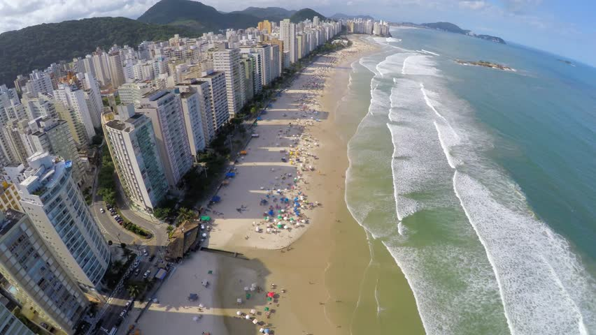 Aerial View of famous Beach on a Summer Day in Brazilian Coastline