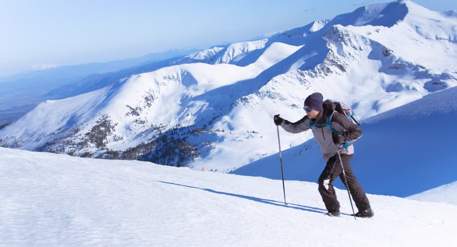 Tourist Man Blue White Peak Backpack Snowy Trail Top Person Mountaineer Equipment Trekker Goal Season Risk Men Health Climb Wilderness Alpine Success Alone Male Outside  | Shutterstock HD Video #9874544