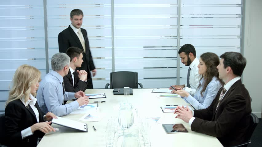 the office the meeting. Office Life. Clerks Expect The Boss In Office. Meeting With Chief Room. Stock Footage Video 9875024 | Shutterstock E