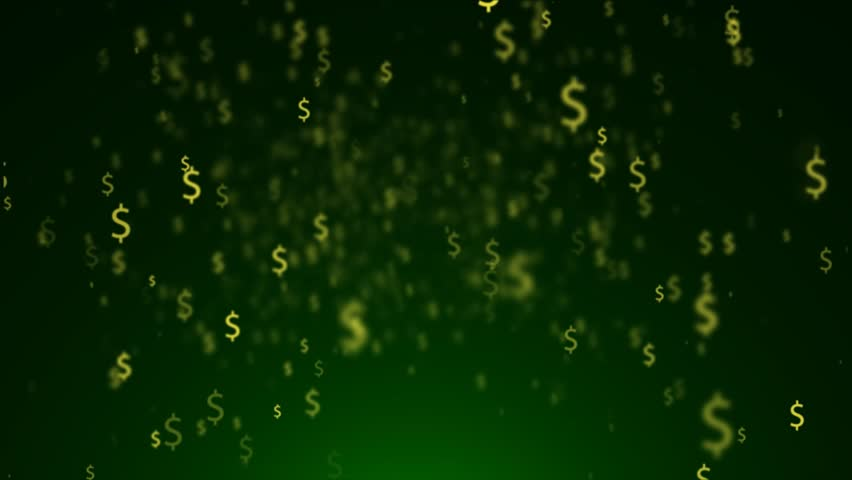 Golden Dollar Signs Raining Down On A Green Background ...
