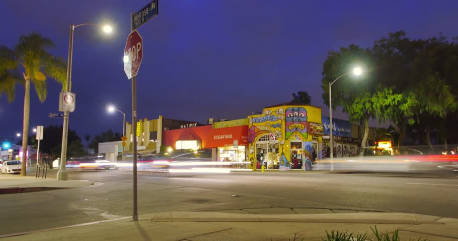 LOS ANGELES - MAY 6th, 2015: Melrose Avenue traffic at night. 4K UHD Timelapse.