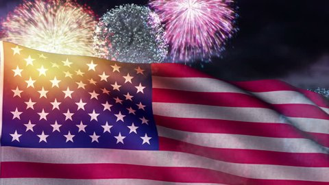 USA flag and fireworks loop, for Fourth of July / American Independence Day and other patriotic themes. This flag is rendered with realistic fine detail of fabric texture and stitching.