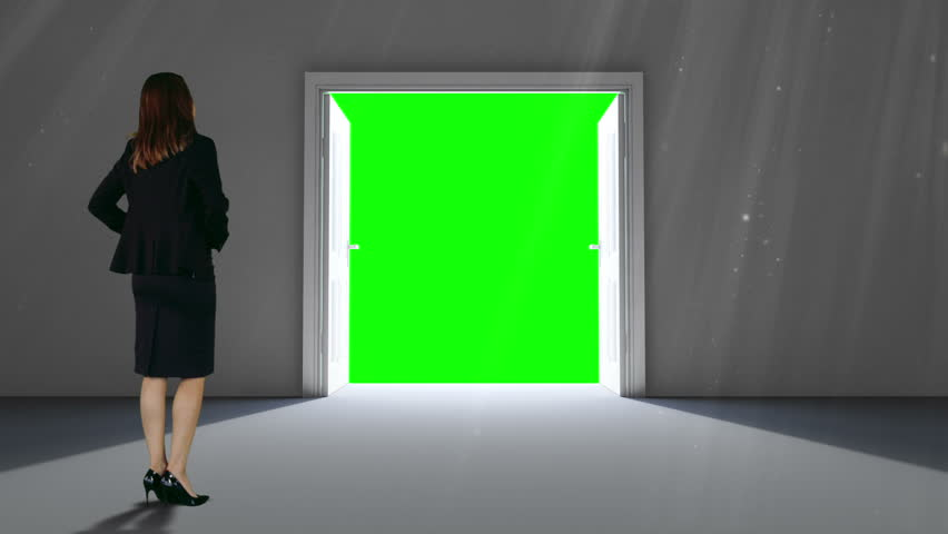 Digital animation of Door opening to green screen watched by businesswoman - HD stock footage clip & Digital Animation Of Door Opening To Green Screen Stock Footage ... pezcame.com