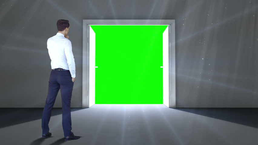 Digital animation of Door opening to green screen watched by businessman | Shutterstock HD Video #9910367