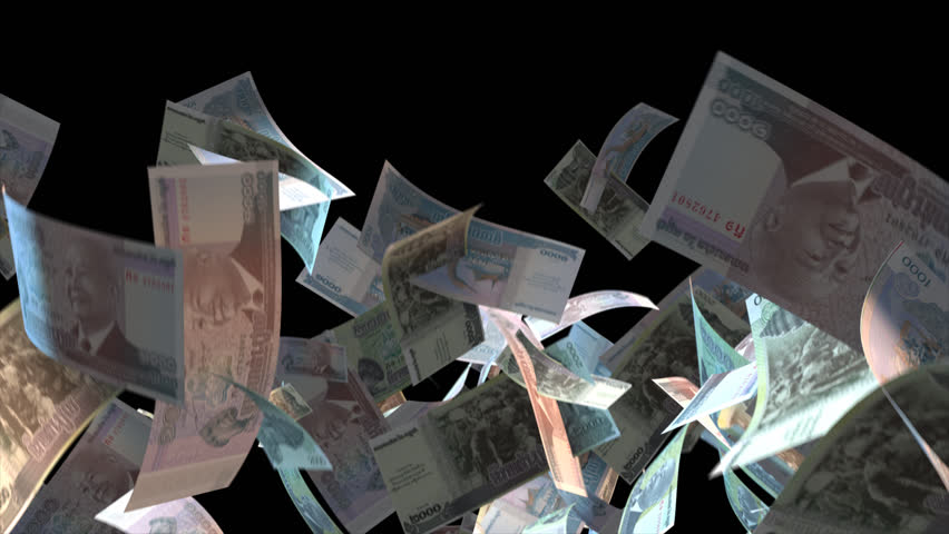 Falling Cambodia money banknotes