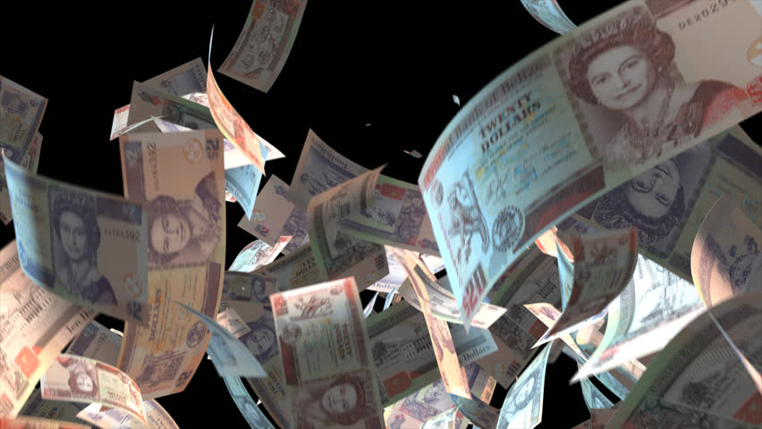Falling Belize money banknotes Video Effect simulates Falling Mixed Belize Money banknotes with alpha channel (transparent background) in 4k resolution    Shutterstock HD Video #9922154