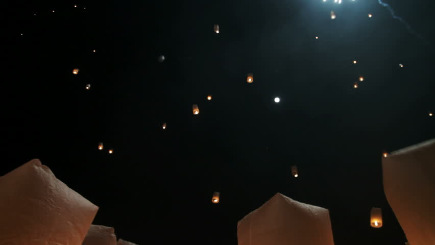 Hundreds of rice paper hot air balloons are launched during the Loi Krathong