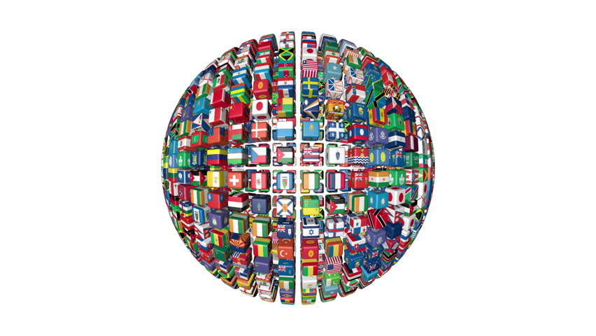 Flags of the World Sphere Rotating, white