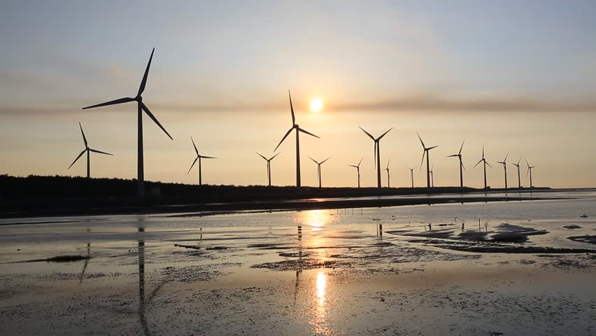 Sunset backlit , windmills and coast in taichung, gaomei wetland | Shutterstock HD Video #9950774